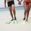 South American couple wearing flippers - Foto de Stock