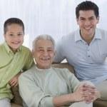 Portrait of multi-generational Hispanic male family members — Stock Photo