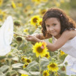 Young girl with butterfly net - Stock Photo