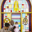 African American family in church — Stock Photo