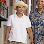 Elderly couple smiling — Stock Photo