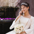Stock Photo: Hispanic girl on cell phone in Quinceanerdress