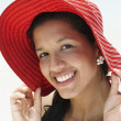 South American woman wearing sunhat - Stock Photo