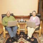 Senior Asian couple having tea while using laptops — Stock Photo #13225520