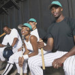 Portrait of baseball team in dugout — Foto de Stock