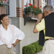 Woman posing for man taking picture — Stock Photo