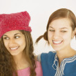 Close up of two smiling young women — Stock Photo