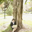 Businesswoman using laptop under tree — Stock Photo #13226297