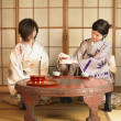 Stock Photo: Two Asiwomen drinking tea