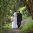 Newlyweds walking along dirt path - Photo