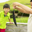 Brothers catching fish — Stock Photo