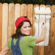 Woman painting fence - Foto Stock