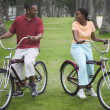 Couple riding bikes in park — Stock Photo #13227319