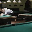 Couple playing pool — Stock Photo