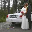 Newlyweds hugging by their car — Stock Photo