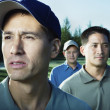 Stock Photo: Close up of three male golfers
