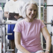 Stock Photo: Male personal trainer with female client at gym