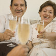 Senior Hispanic couple smiling and toasting with champagne  — Stock Photo