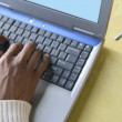 Stock Photo: Hands typing on laptop