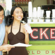 Couple at coffee bar — Stock Photo