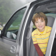Portrait of Mixed Race boy looking out of truck — Stock Photo