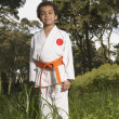 Young boy wearing karate outfit — Stock Photo