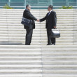 Two businessmen shaking hands on steps — Stock Photo