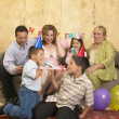 Hispanic family at birthday party — Stock Photo