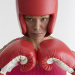 Portrait of woman in boxing gear — Stock Photo #13228358