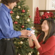 Stock Photo: Man giving woman Christmas gift
