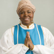 Stock Photo: Africwomwearing church choir gown