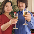 Portrait of couple toasting by Christmas tree — Stock Photo