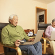 Stock Photo: Senior Asicouple having tewhile using laptops