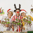 Stock Photo: Group of children with Christmas decorations