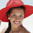 Royalty-Free Stock Photo: South American woman wearing sunhat