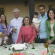 Hispanic family at birthday celebration — Stock Photo