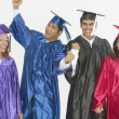 Group of graduates wearing caps and gowns — Stock Photo