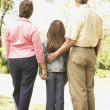 Rear view of Hispanic family outdoors — Stock Photo