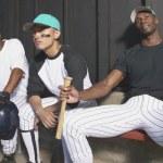 Retrato de jugadores de béisbol en piragua — Foto de Stock