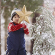 Stock Photo: Boy with Christmas star and snowy tree in forest