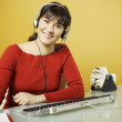 Businesswoman wearing headset — Stock Photo