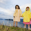 Portrait of sisters holding hands at lake - Stock Photo