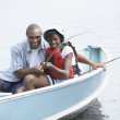 African father and daughter fishing — Stock Photo