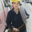 Portrait of female construction worker — Stock Photo