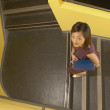 High angle view of businesswoman climbing stairs — Stock Photo