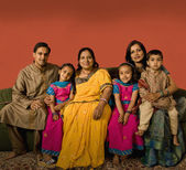 Multi-generational Indian family in traditional dress — Stok fotoğraf
