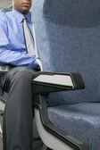 Meio do empresário em avião — Foto Stock