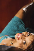 High angle view of African woman smiling — Stock Photo