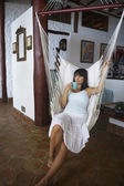 South American woman in hammock — Stock Photo