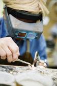 Welder using welding torch — Stock Photo
